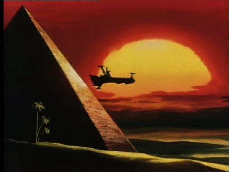 L'Atlantis survolant les grandes pyramides